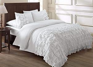 Chezmoi Collection Ella 3-Piece Ruffle Waterfall Comforter Set (Queen, White)