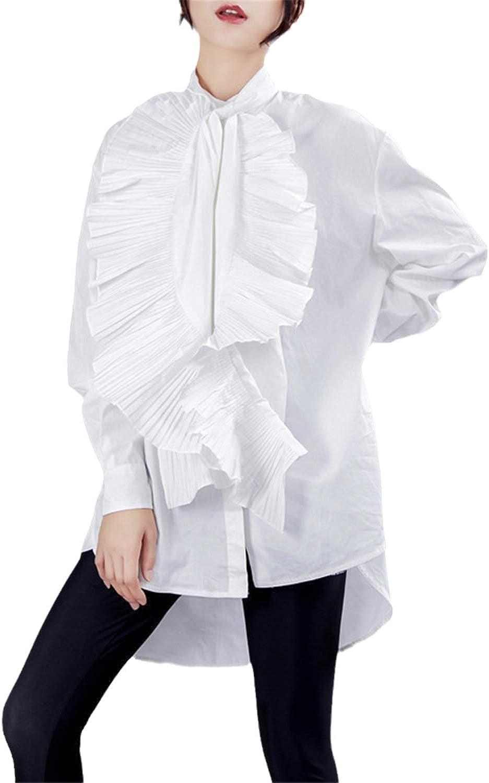 AYZ Women's Slim Fit Shirt Tuxedo Ruffled Raleigh Mall Blouse 5 ☆ very popular