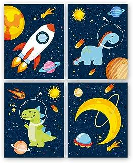 KAIRNE Lot de 4 Poster Pour Chambre D'Enfant/Bébé,Affiche de Planète Fusée,Affiches Espace Enfants,Impression D'art Mural ...