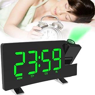Projektion väckarklocka, digital projektion väckarklocka med temperaturdisplay, dubbla larm, snooze, 3 dimningsmode, avstä...