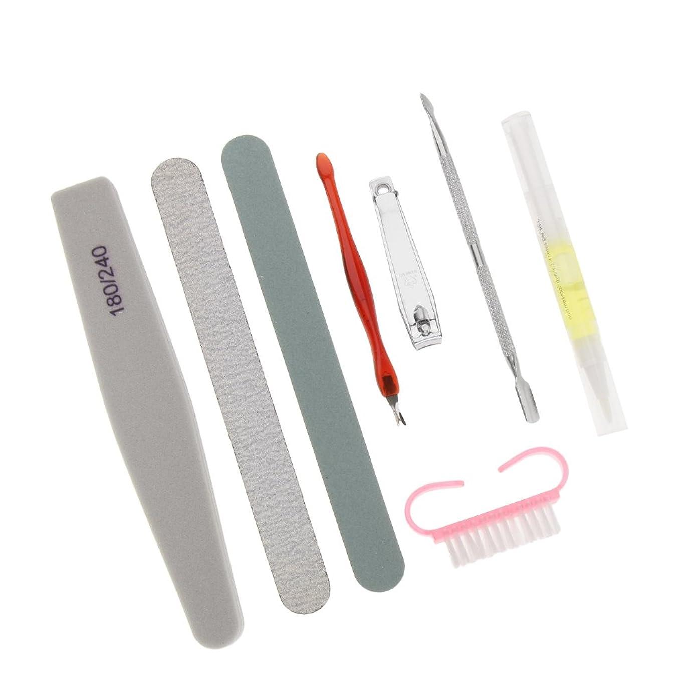 洗うラフ個人的にKesoto 8点 マニキュア ネイルケア 爪切り ネイルファイル キューティクルプッシャー ネイルブラシ ネイルペン