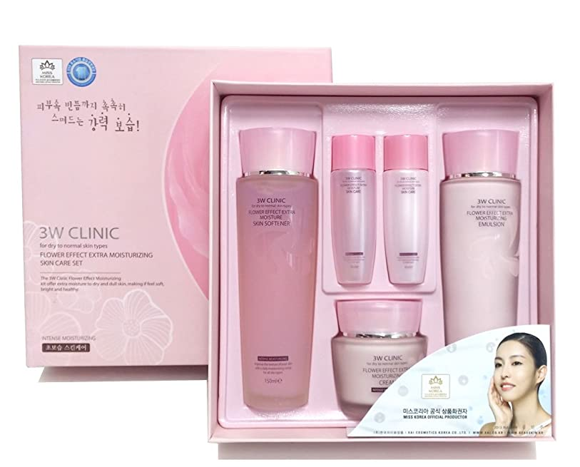 メタルラインオデュッセウス血統[3W CLINIC] フラワーエフェクトエクストラモイスチャライジングスキンケアセット / Flower Effect Extra Moisturizing Skin Care Set / ヒアルロン酸 / hyaluronic acid / 韓国化粧品 / Korea Cosmetics [並行輸入品]