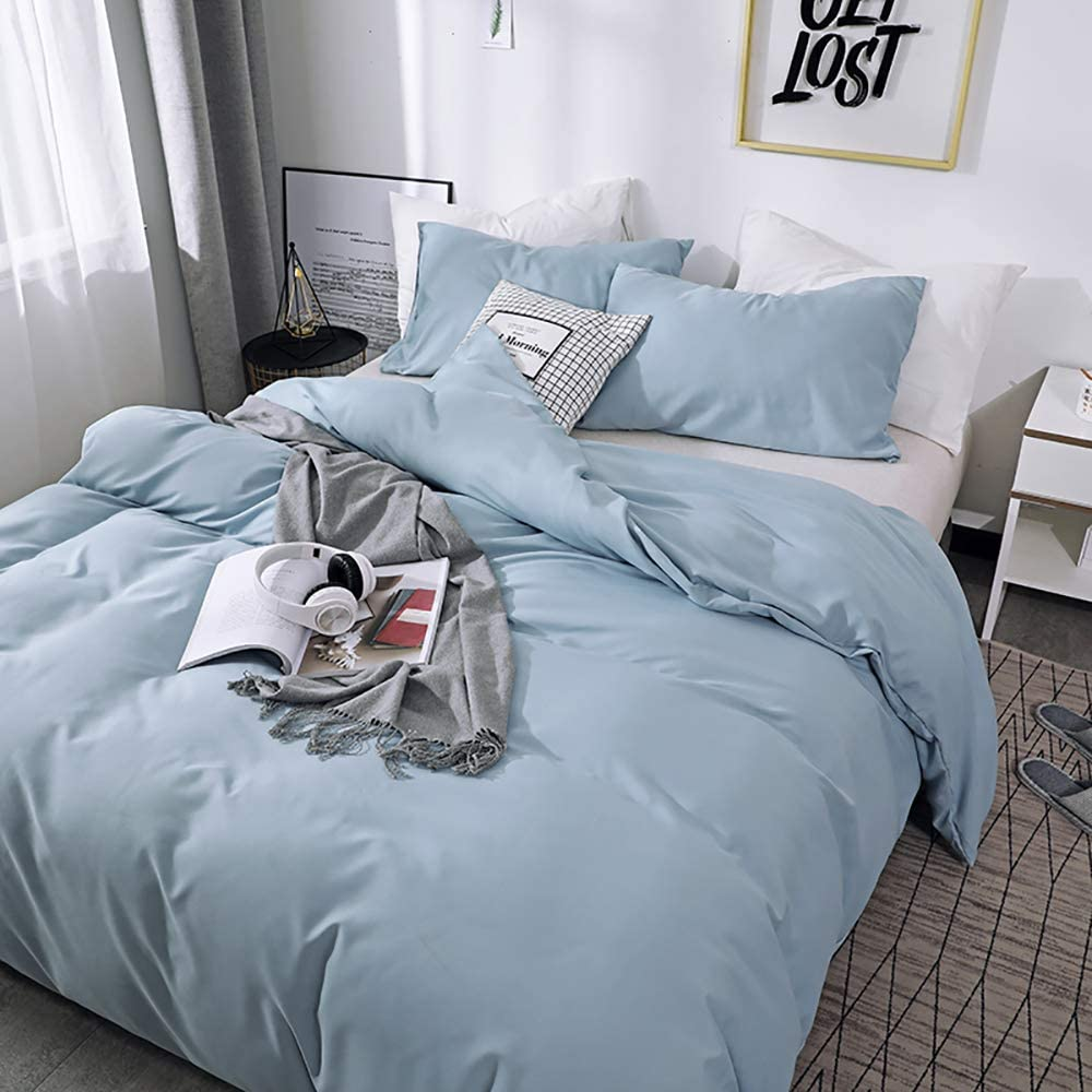 Couturebridal Denim Blue Grey Gray Duvet Cover Set King Size Modern Reversible Chambray Microfiber Bedding Sets Hotel Luxury Solid Color Collection Comforter Quilt Covers with Zipper Ties for Men