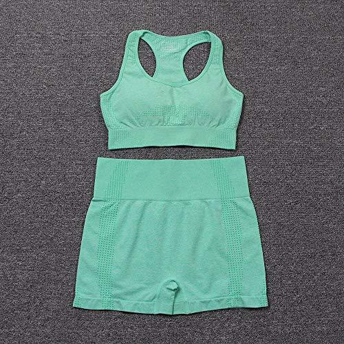 MYERZI Ropa sin Costuras 9 colores conjunto de yoga inconsútil conjunto de deportes mujeres gimnasio ropa de gimnasio acolchado deportes sujetador alto cintura gimnasio pantalones cortos gimnasio conj