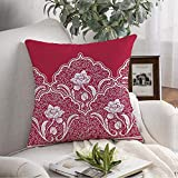 Throw Pillow Cover Leaf Swirl Border Lace Style Red Wedding Paint Pattern White Blossom Flower Elegant Material Asian Decorative Soft Pillowcase Square Cushion for Farmhouse Couch Chair 18x18 Inch