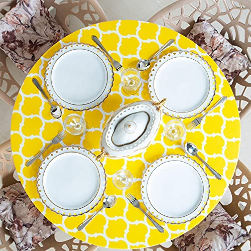 Home One Round Tablecloth with Elastic Edge and Flannel Backing - Waterproof Vinyl Table Cover for Outdoor, Patio, Kitchen and Dining Room - Arabic Mosaic - (Medium 35'-42',Yellow)
