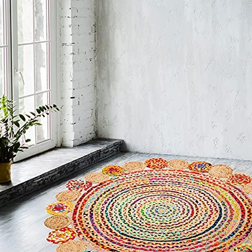 Umi by Amazon Vibrant Jute Cotton Rug Rag - Chiffon de Tapis réversible tressé à la Main Multicolore, Les Couleurs Peuvent Varier (120 x 120 cm, Jute + Coton Fantaisie Rond)