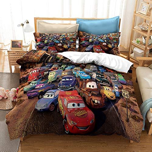 YBBY-U Ropa de cama infantil de Disney Cars para niños, 2 piezas, 1 funda de almohada de 75 x 50 cm + 1 funda nórdica (Y09,200 x 200 cm + 75 x 50 cm x 2)