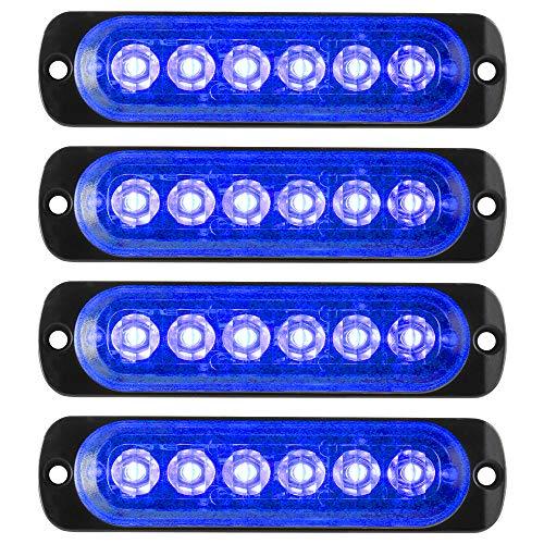 KaiDengZhe4Pcs 6LED Blue Ultra Slim Sync Feature Warning Emergency Beacon Hazard Flash Caution Strobe Light Bar Surface Mount for Car Truck 12-24V