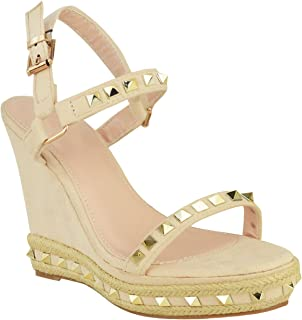 Fashion Thirsty Womens Studded Wedge Sandals Strappy Platforms Denim Summer Shoes
