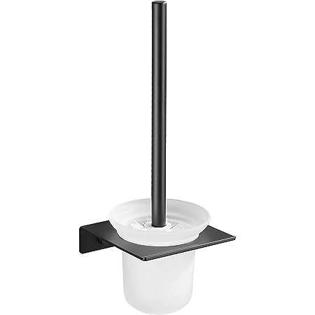 Hoomtaook Brosse WC Suspendu Brosse de Toilette avec Support, Installation Murale Noir en Aluminium et en Verre sans Colle Endommagée Noir avec Une Tête de Brosse Supplémentaire