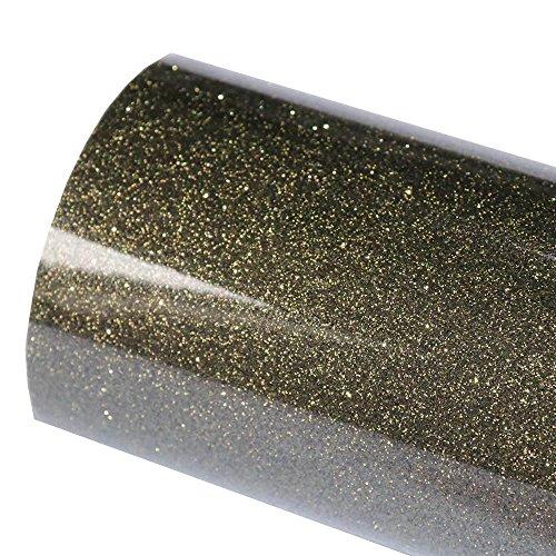 Hoho, Hitzetransferfolie, 50x 30cm, Glitzer, schwarz und gold, für T-Shirt-, Stoff-Designs für Cricut Silhouette
