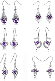 6 Pairs Purple Drop Dangle Earrings for Women Classic Silver Statement Fashion Jewelry Hypoallergenic Earrings Set