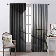 GloriaJohnson Modern Heat Insulation Curtain Arabian City Dubai Landscape Downtown from Balcony Photo Image Print for Living Room or Bedroom W100 x L84 Inch Charcoal Grey and White