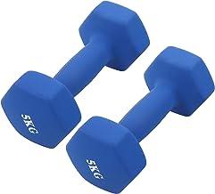 Hex Dumbbells Set 2 X 5 Kg, Ijzer PVC Dumbbells Fitness Hexagon Antislip Dumbbells Gewichtenset voor Mannen en Vrouwen Kra...