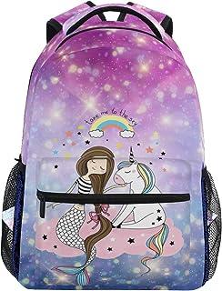 Mochila de viaje con diseño de sirena, diseño de unicornio y arcoíris