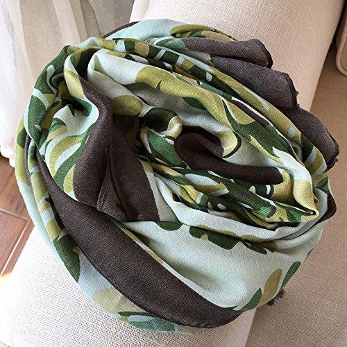 BAGEHUAN Baumwolle und Leinen Schal Frauen Winter Quaste Schal Dual im Frühjahr und Herbst lange Kragen Warm Warm Wild Studenten Schals, Grün