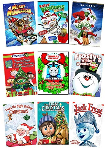 Kids & Family 9-Movie Christmas DVD Collection: Merry Madagascar/Party with the Penguins/How the Grinch Stole Christmas/Super Why Xmas/Thomas Xmas/Frosty/Twas the Night/First Christmas/Jack Frost