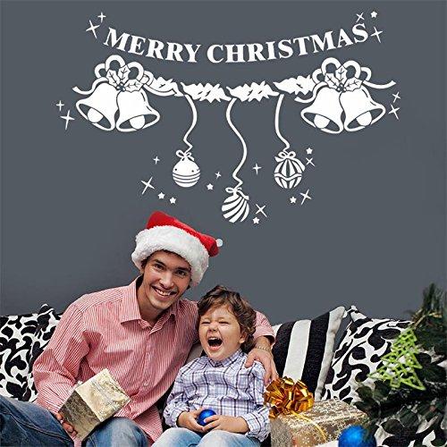 WLYUE Diy Wandtattoos, Weihnachten Schneeflocken Glocke Ornamente Fensteraufkleber Wandfensterglas Aufkleber
