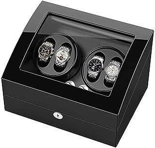4 + 6 Enrolladores automáticos Reloj Madera Enrolladores rotación Caja Madera Motor silencioso Premium 4 Modos (32 × 18 × 19 cm)