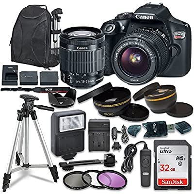 Canon EOS Rebel T6 Digital SLR Camera with Canon EF-S 18-55mm Image Stabilization II Lens, Sandisk 32GB SDHC Memory Cards, Accessory Bundle from Canon