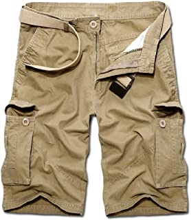Zimaes Men Cargo Pants Pockets Mid Length Beach Fit Short Pant