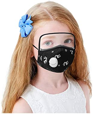 Youdw Children Kids Cute Bandanas Covers Washable & Reusable& Breathable with Eye Shield Removable (Black)