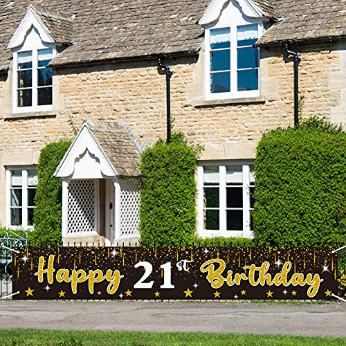 N+A Ufocusmi Happy 21st Birthday Banner - 21 Year Old Bday Yard Sign Party Decorations, Large Black and Gold Birthday Backdrop Supplies, 9.8x1.6ft