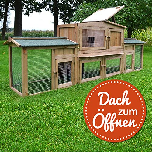 """ZooPrimus Kleintier-Stall Nr 24 Kaninchen-Käfig """"HASI"""" Meerschweinchen-Haus für Außenbereich (Geeignet für Kleintiere: Hasen, Kaninchen, Meerschweinchen usw.) - 4"""