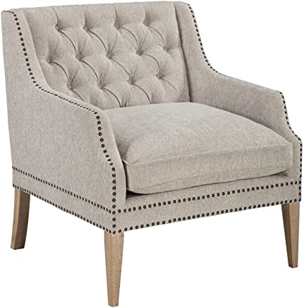 Ashley Furniture Signature Design - Trivia Accent Chair - Casual - Linen-Weave Nautral Color - Natural Finish Legs - Charcoal Nailhead Trim