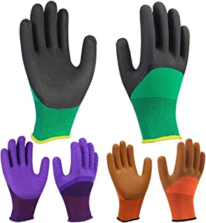 Colorful 3 Pairs Superior Grip Coating Garden Work Gloves, Breathable Comfortable for Gardening Construction Auto Multi-Purpose