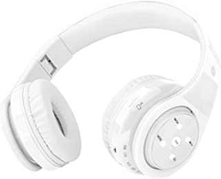 Bluetooth Headphones for Kids, 85db Volume Limited, up to 6-8 Hours Play, Stereo Sound, SD Card Slot, Over-Ear and Build-in Mic Wireless/Wired Headphones for Boys Girls(White)
