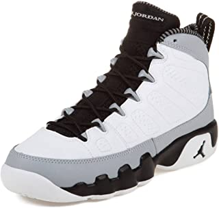 Nike Boys Air Jordan 9 Retro BG Barons White/Black-Wolf Grey Leather Basketball Shoes Size 4.5Y