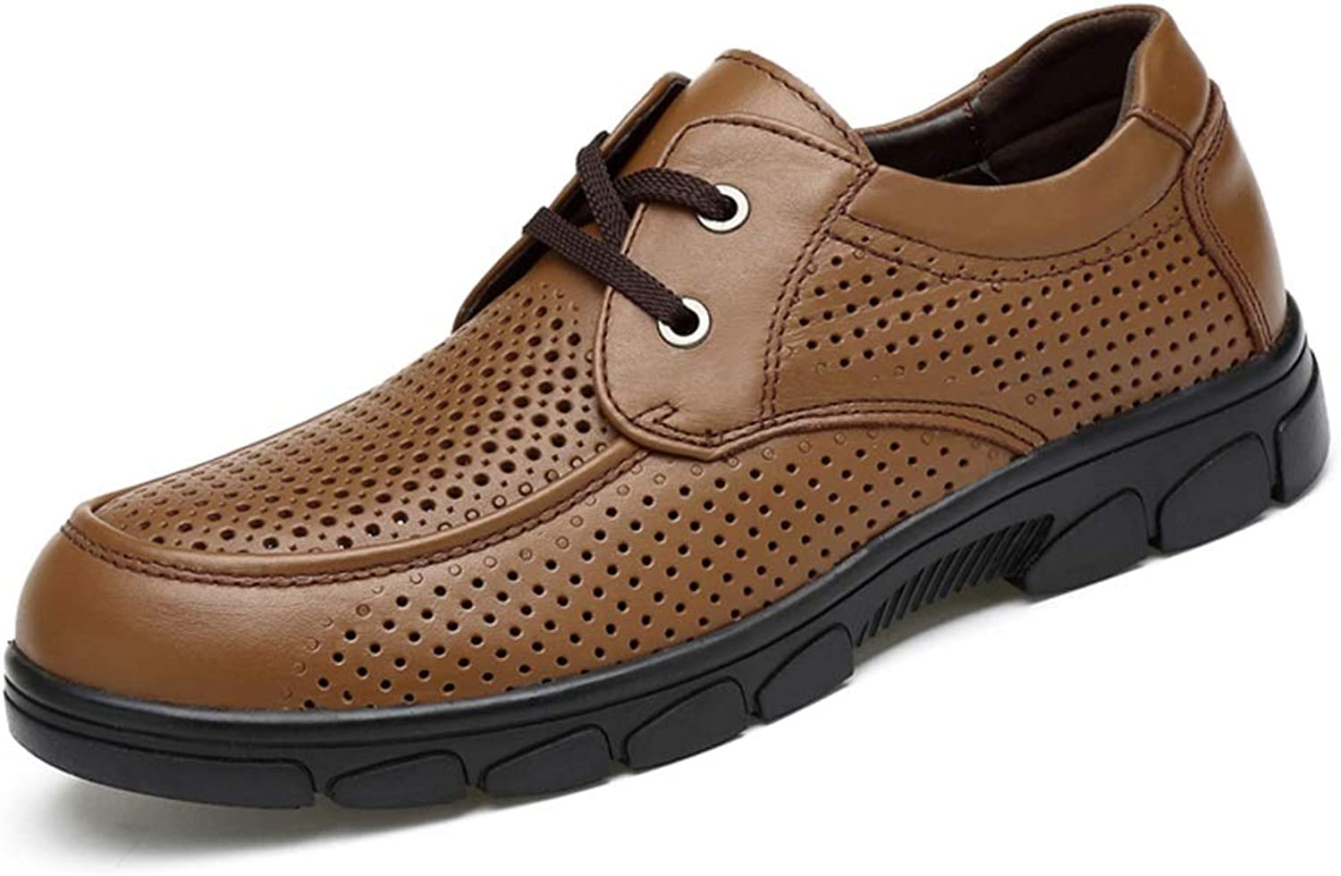 Oxford shoes Mens Formal shoes Lace Up OX Leather Hollow Breathable Contracted (color   Brown, Size   5 UK)