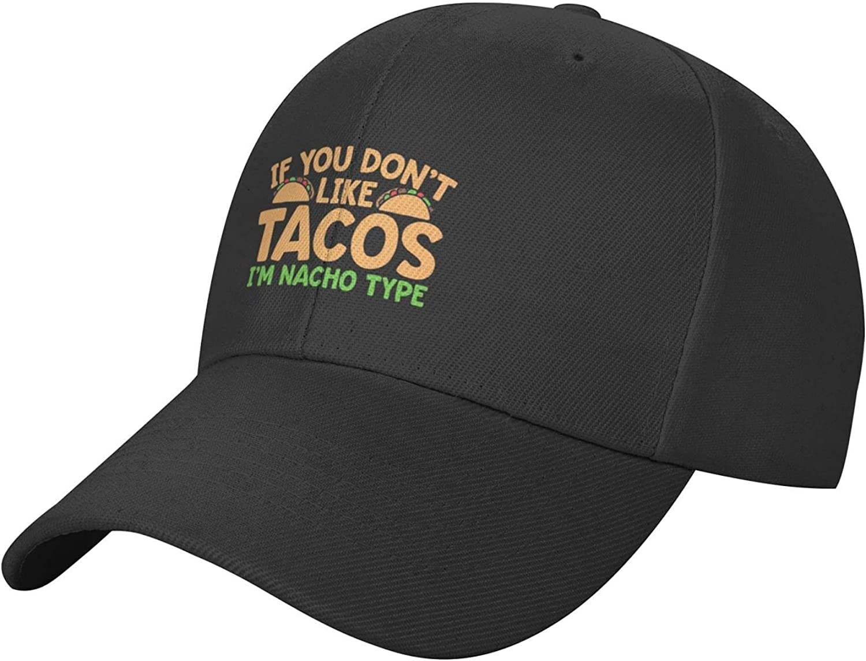 Mexico Cinco De Mayo Cute Taco Hat Black Baseball Cap Trucker Hat, Adjustable Fitted Hat Sun Dad Hats for Women Men