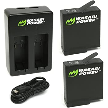 Wasabi Power Battery (2-Pack) & Dual Charger for GoPro HERO7 Black, HERO6 Black, HERO5 Black, Hero (2018 Model)
