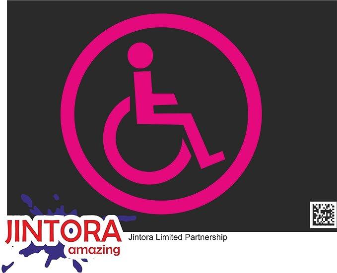 Jintora Aufkleber Für Auto Autoaufkleber Jdm Die Cut Rollstuhlfahrer 99x99 Mm Jdm Die Cut Bus Fenster Heckscheibe Laptop Lkw Tuning Pink Auto