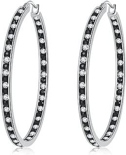 Mult-colors Crystal Stainless Steel Hoop Earring for Women Hypoallergenic Jewelry for Sensitive Ears Large Big Hoop Earrings 2