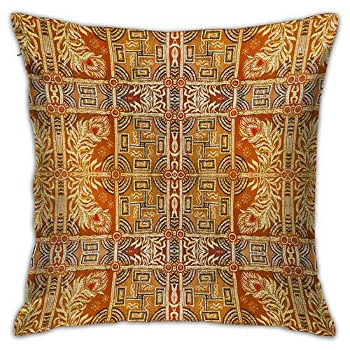 Gggo Cuadrado Funda de Almohada Fondo con Textura Ornamental Tonos Amarillo Anaranjado Fundas de cojín para Sala de Estar sofá, Dormitorio, decoración 50x50cm