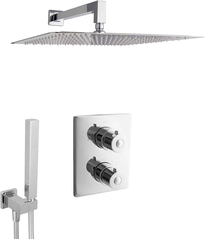 PaulGurkes Unterputz Dusche Set mit Thermostat Verbrühschutz Thermostat-Mischbatterie Duschset Komplett Einbaufertig Komplettset mit überkopfbrause Regendusche XXL-Dusche Luxusdusche