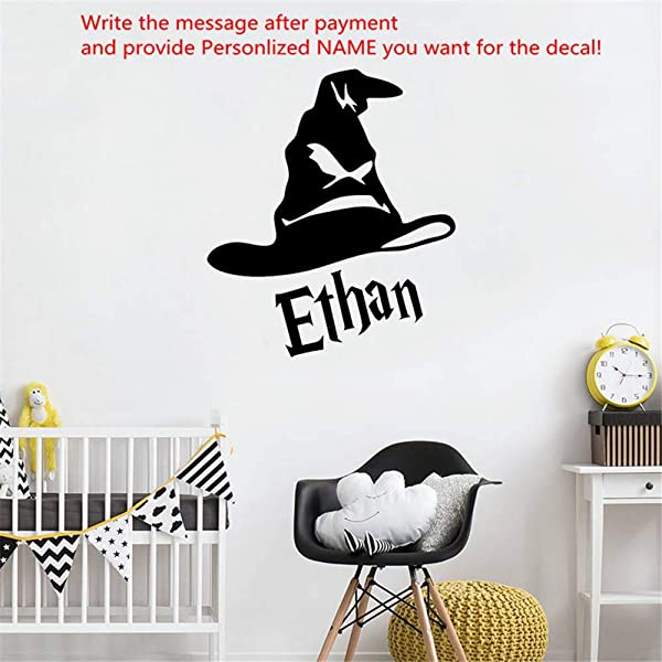 Personalized Name Harry Potter Hat Vinyl Wall Sticker For Kid Room Custom Decal Mural Bedroom Decor Nursery Home Decoration