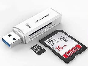 USB 3.0 SD Card Reader for PC, Laptop, Mac, Windows, Linux, Chrome, SDXC, SDHC, SD, MMC, RS-MMC, Micro SDXC Micro SD, Micro SDHC Card and UHS-I Cards(White)
