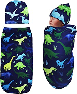 TANOFAR Newborn Swaddle Blanket with Beanie Set,Soft Stretchy Cocoon Sack for 0-3 Months Baby Boys and Girls(Watercolor Dinosaur)