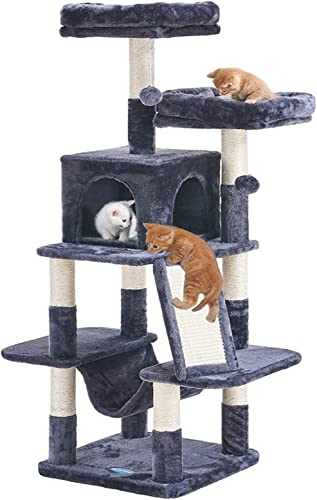 wholesale Hey-brother Cat Tree for Indoor Cats, 53 inch Cat Tower with Scratch Posts, Sturdy cat House with cat condo, 2 Well-Padded cat perches, sale cat Hammock and popular Fur Balls cat Toy sale