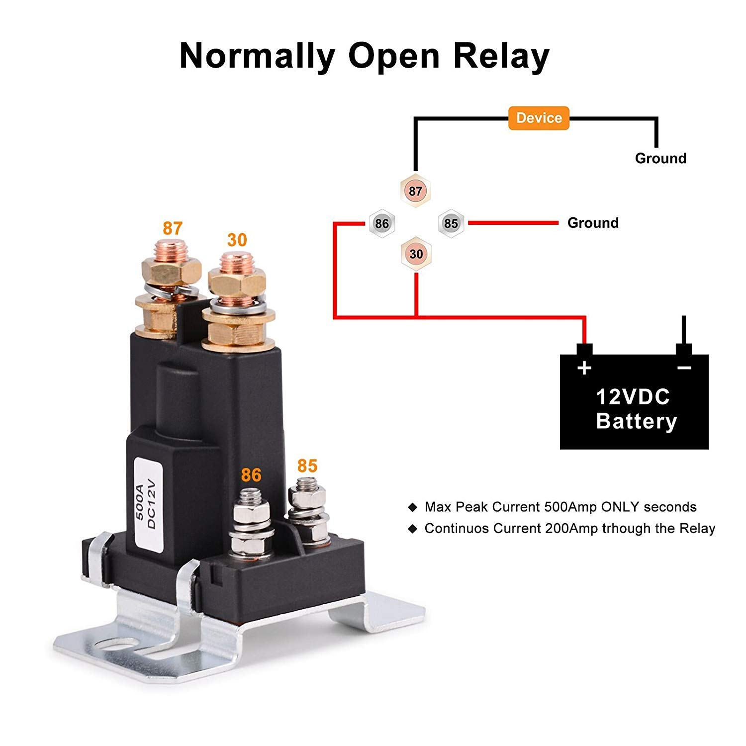 12V 500A AMP 4Pin Car Relay Contactor On//Off  Auto Power Switch Battery Lsolator