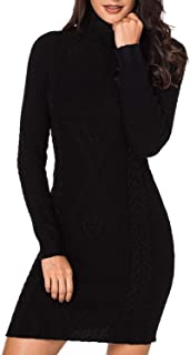LaSuiveur Women's Slim Fit Cable Knit Long Sleeve Sweater Dress