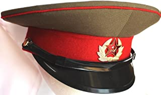 Original Soviet Army Parade Cap for Enlisted + Soviet Red Star Badge Russian Size 55 (US 6-7/8)
