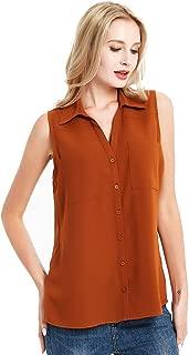 Women Chiffon Blouses Casual Cap Sleeve/Sleeveless Button Down Shirts V Neck Office Work Tops