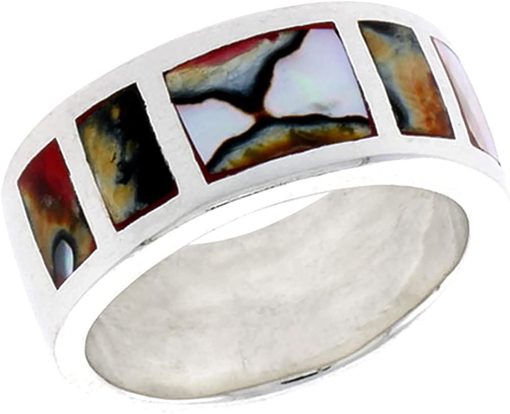 Max 70% OFF Sterling Silver Mother of Finally resale start Pearl Ring Band Mu Square Flat Pattern