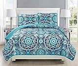 Linen Plus Full/Queen 3-teiliges gestepptes Tagesdecken-Set, Übergröße, Blumenmuster, Türkis, Marineblau, Blaugrün, Grau, Weiß